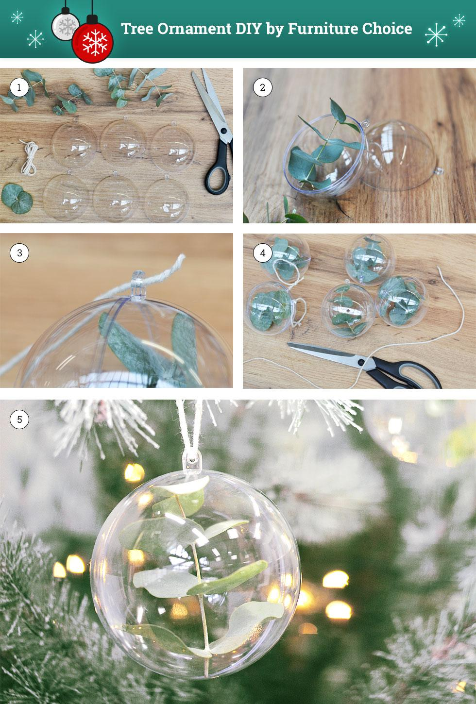 DIY steps to making a Christmas tree ornament.