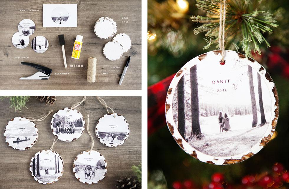 Christmas tree ornament made with printed photos.