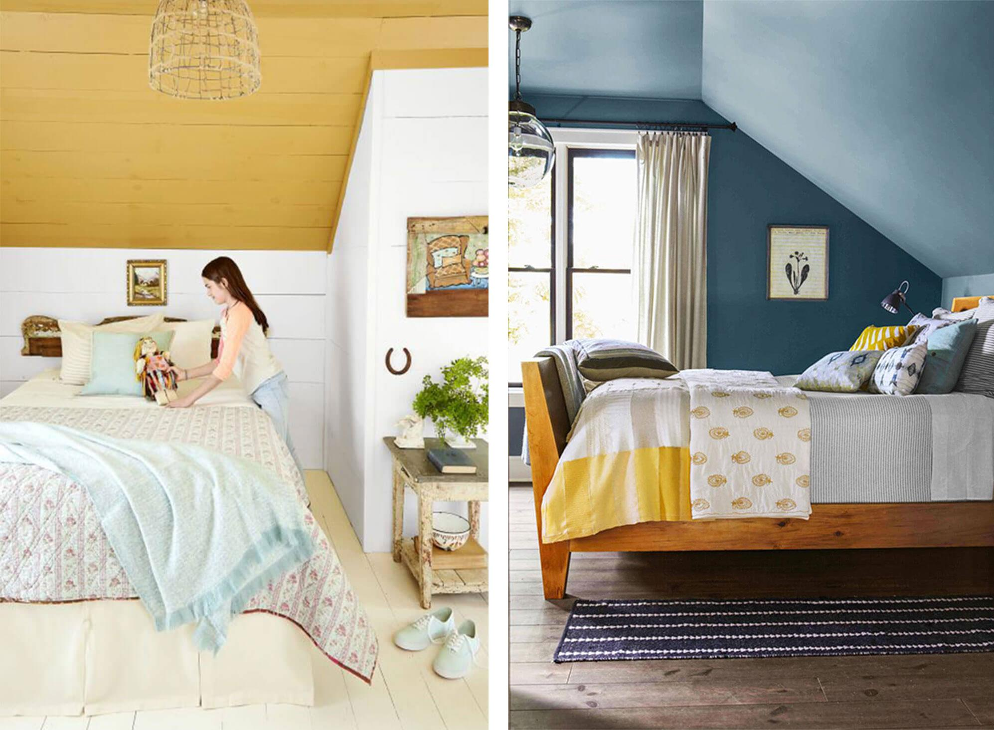 Ideas for bedroom walls and ceiling painted blue.