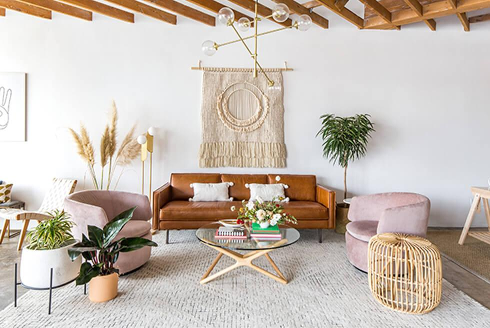 Modern boho interior in a neutral palette