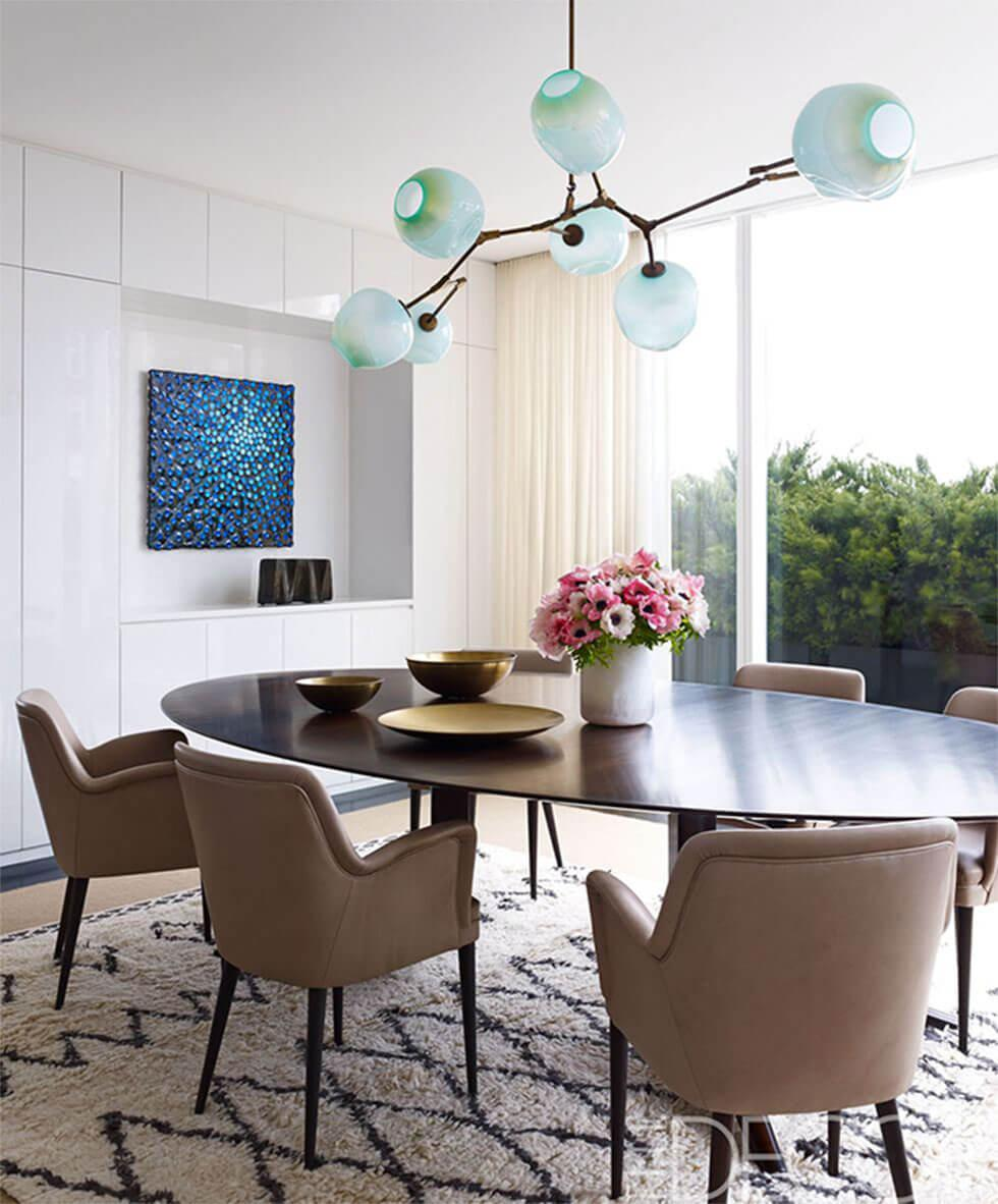 Modern dining room with sculptural pendant lamp