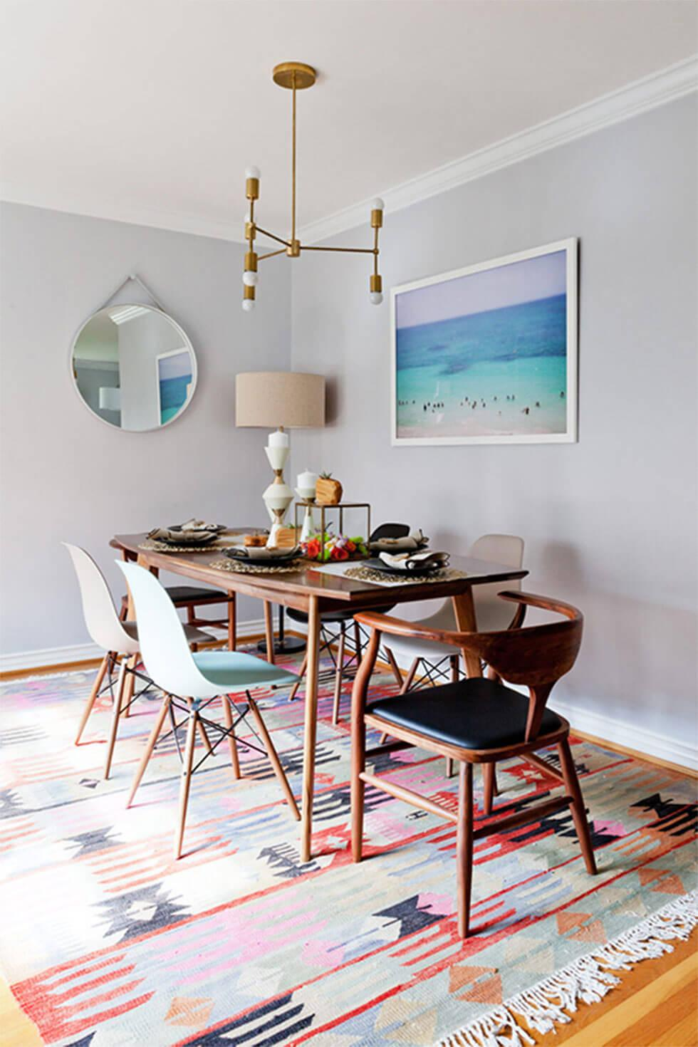 Modern dining room with aztec pattern rug