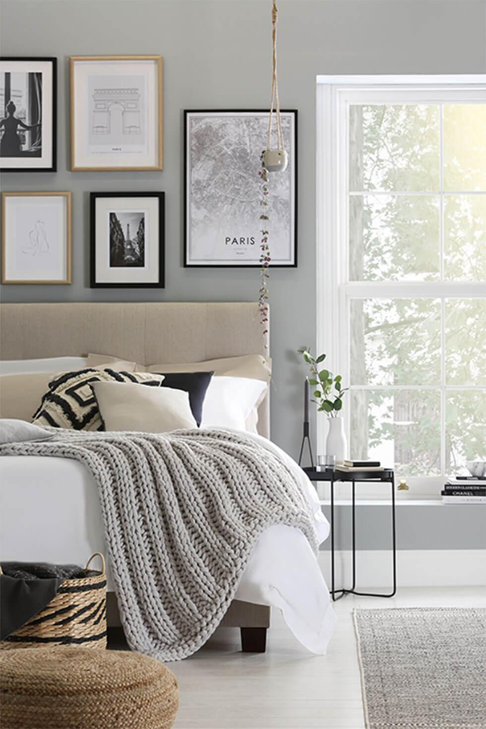 Light grey bedroom with soft neutrals