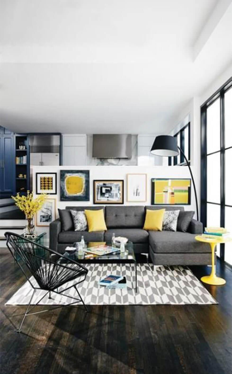 Colourful living room with grey fabric sofa