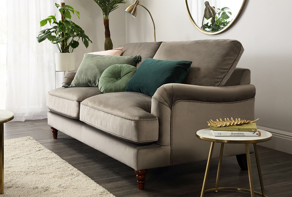 Mink velvet sofa in a modern living room with luxe details