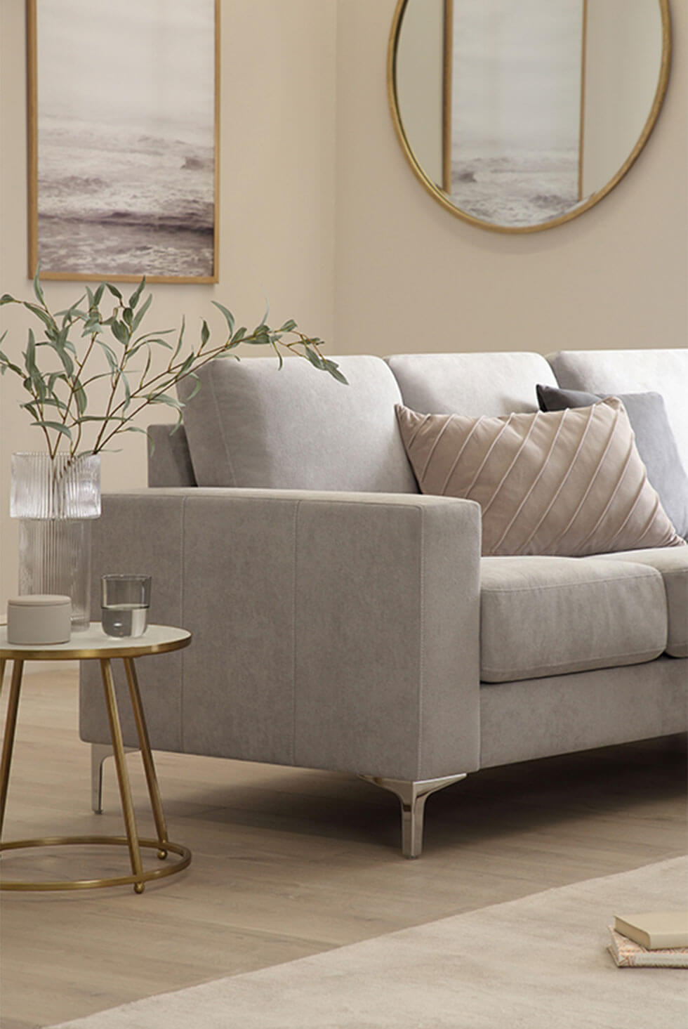 Light grey plush fabric sofa in a contemporary lux living room