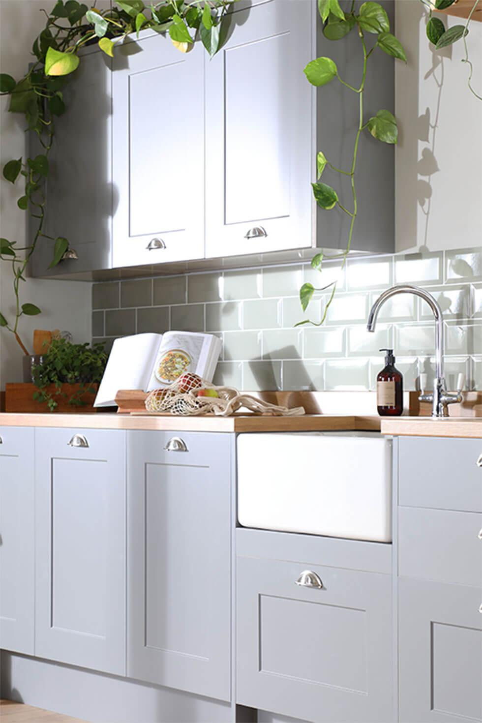 Trailing plants in a light grey kitchen in an eco-friendly home