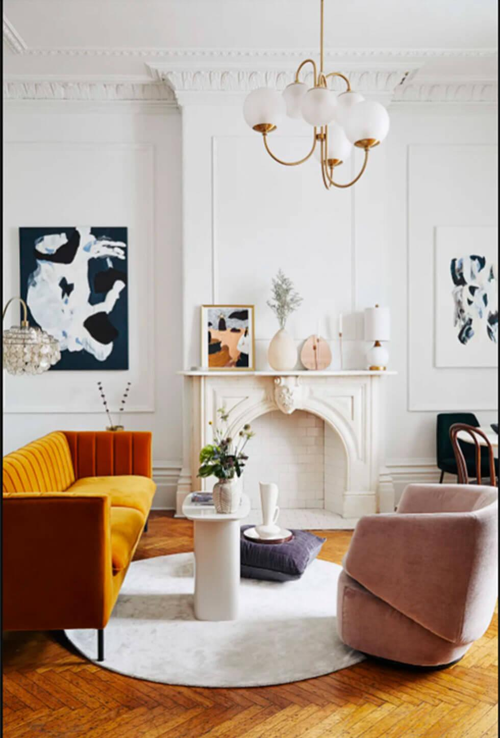 a stylish living room layout with the fireplace as the focal point