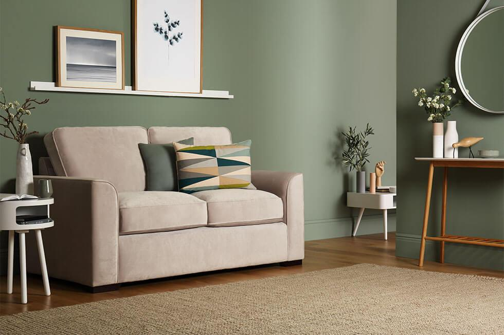 Small living room ideas with sage green colour scheme.