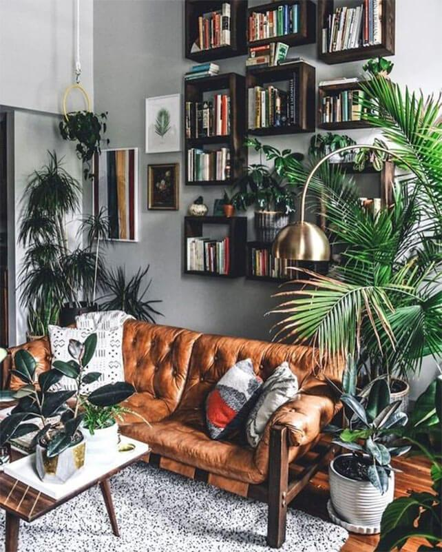 Neutral living room with a tropical aesthetic