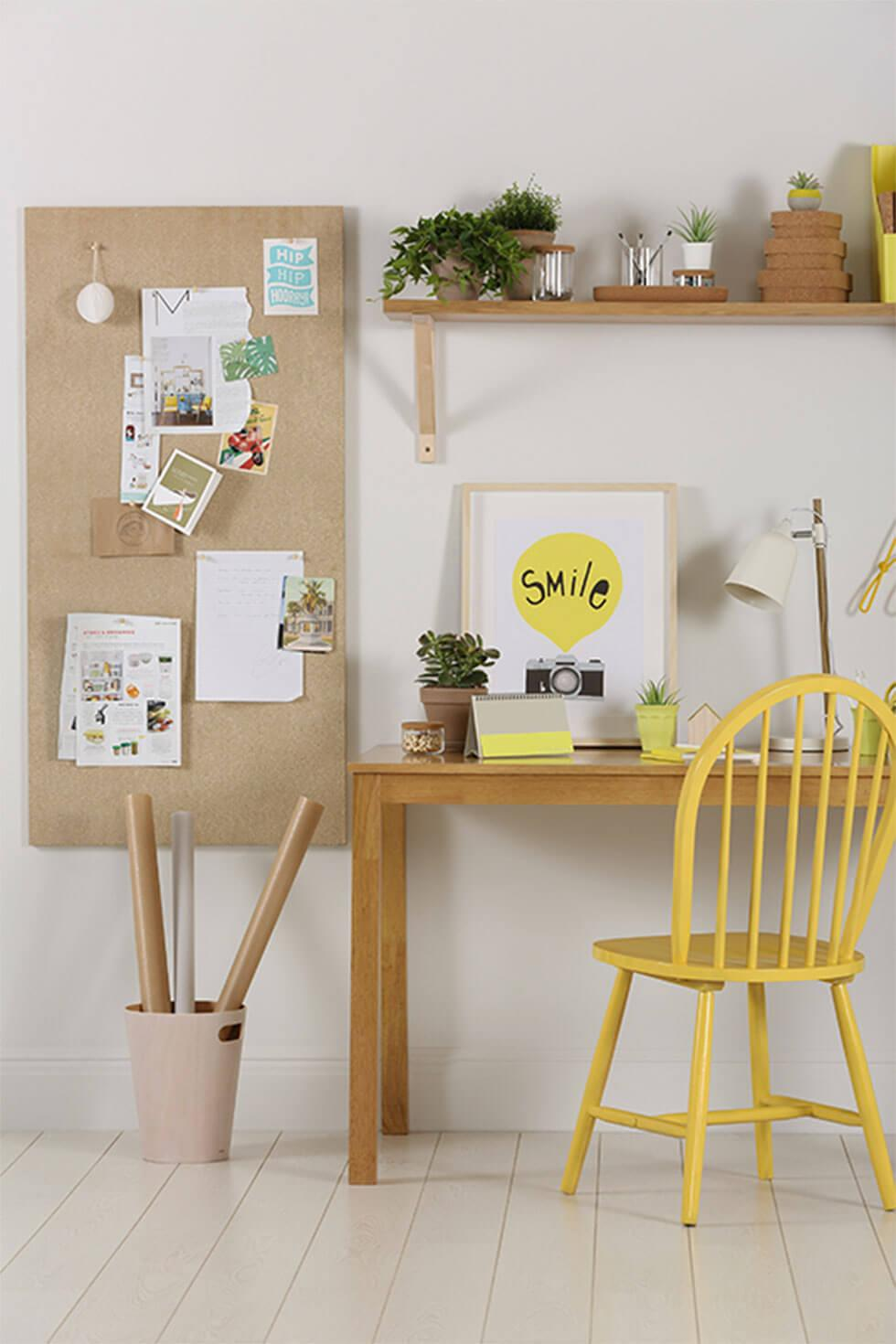 home office with yellow wooden chair and accessories