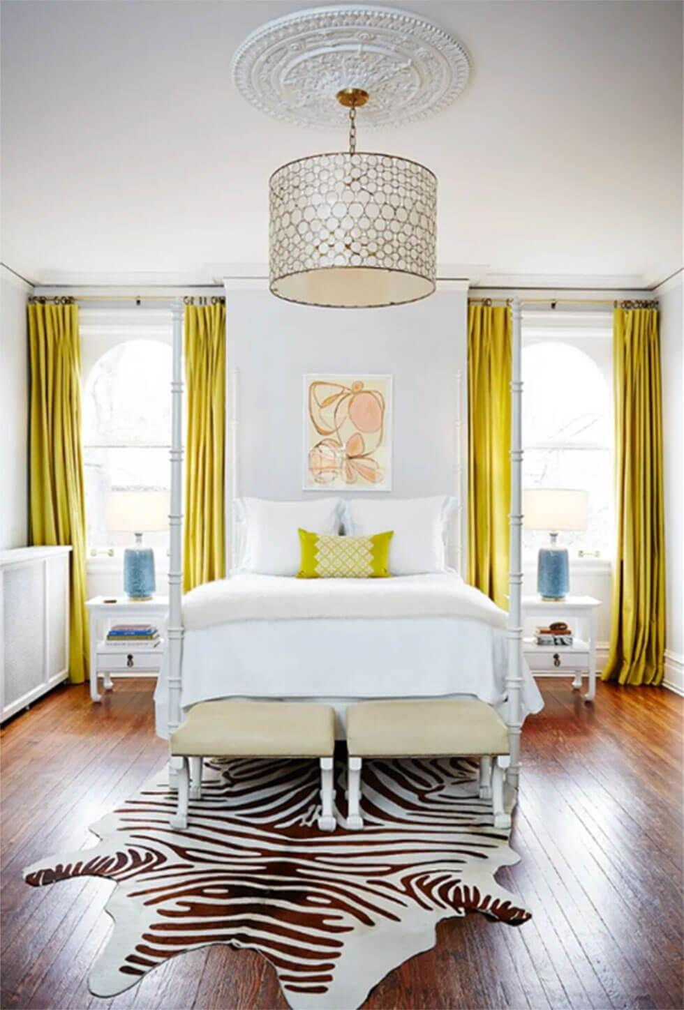 Yellow curtains in a modern bedroom