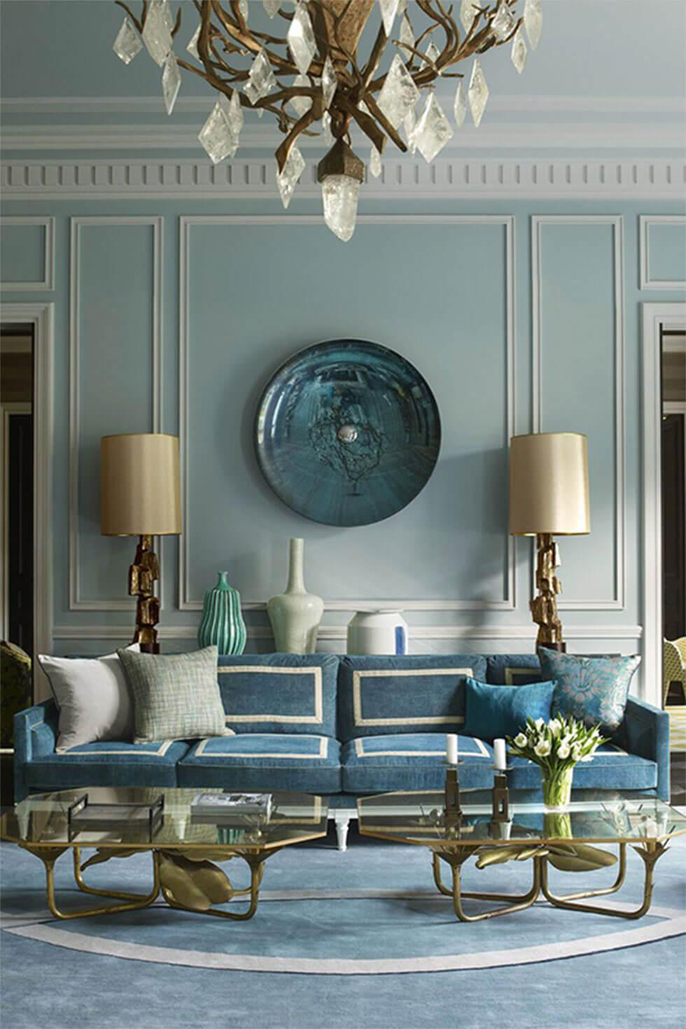 Light blue living room walls in a vintage-inspired classic home.