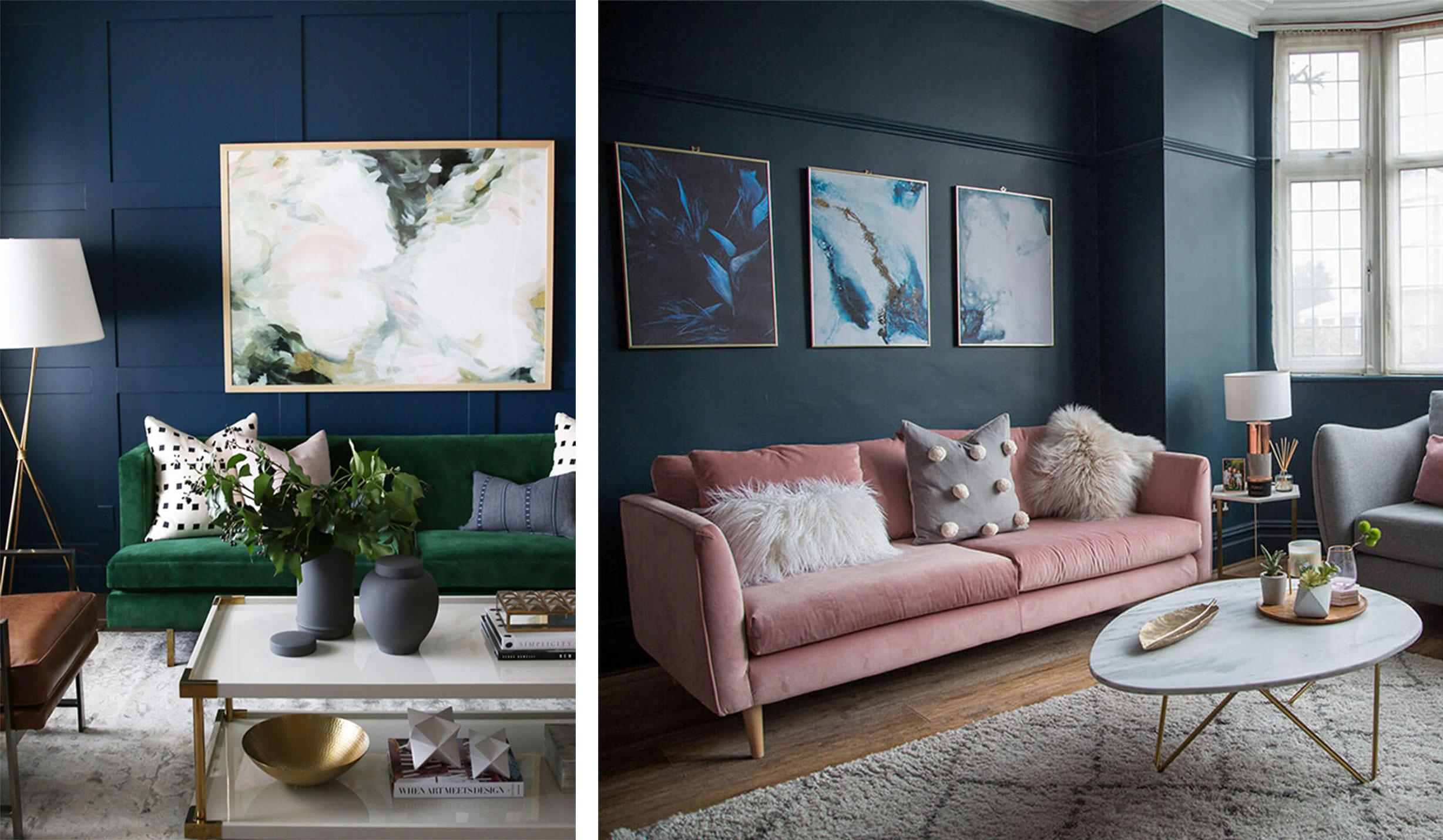 Dark blue living room walls with a soft contrast sofas