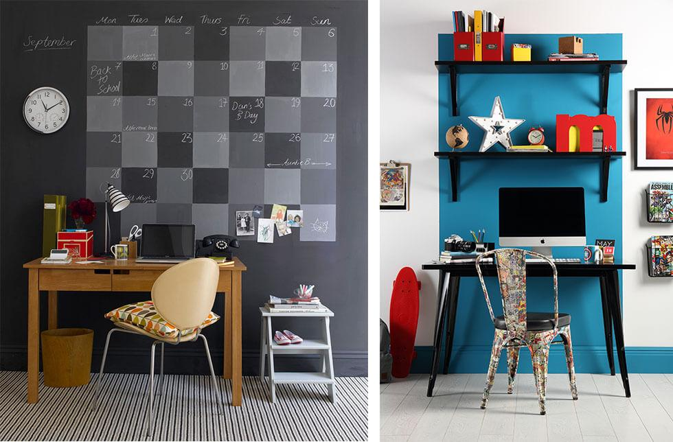 Creative ideas for a feature wall in a teenager's bedroom