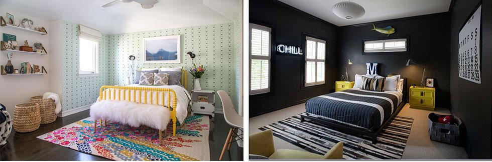 Teenage bedrooms that experiment with light and dark colours