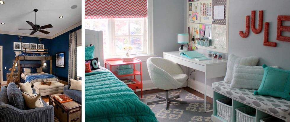 Ideas for a teenage bedroom with spaces to relax and hang out