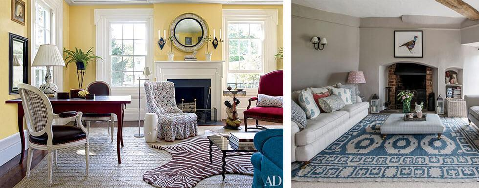 Country living rooms with neutral palette with mixed fabrics and prints