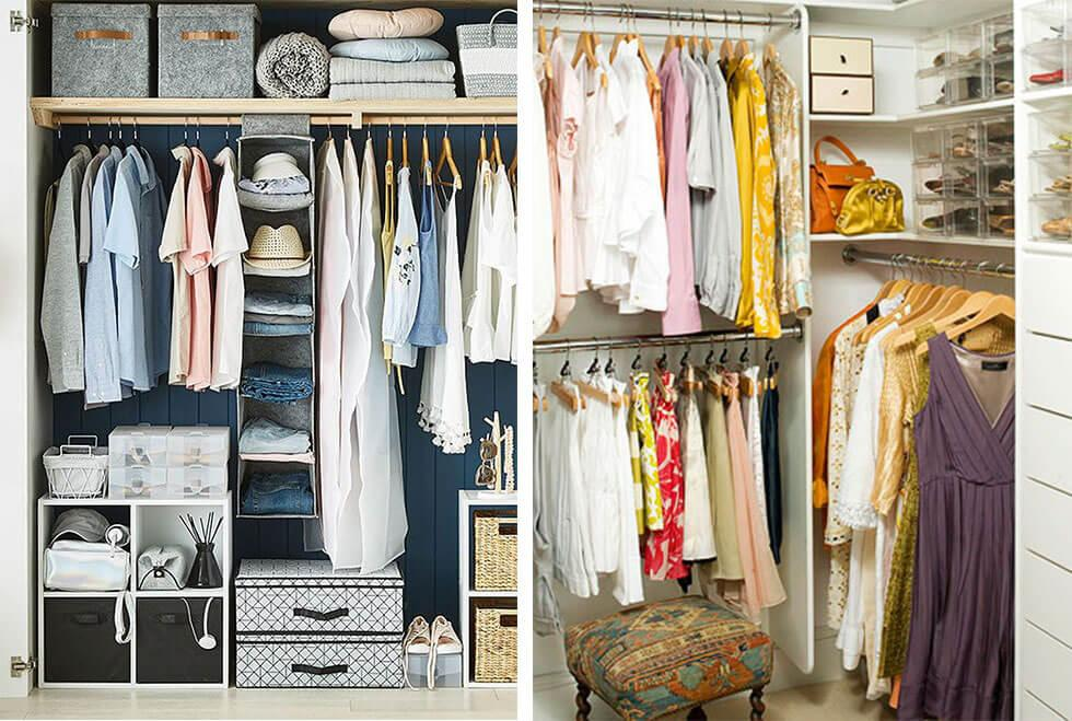 wardrobe with hanging shelf organiser that stores clothes, shoes and accesssories neatly.