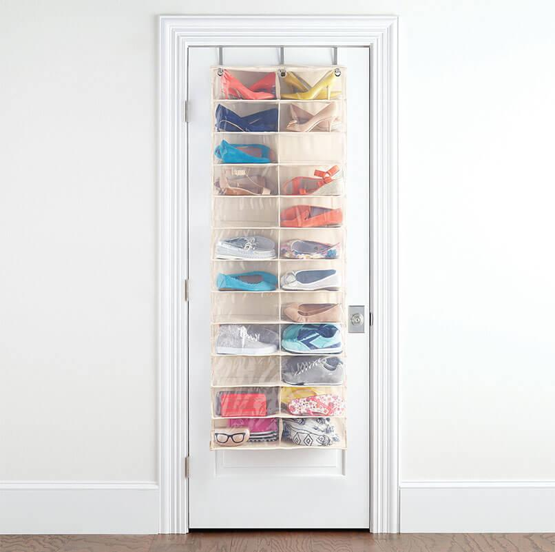 Hanging organiser behind a door for shoe storage