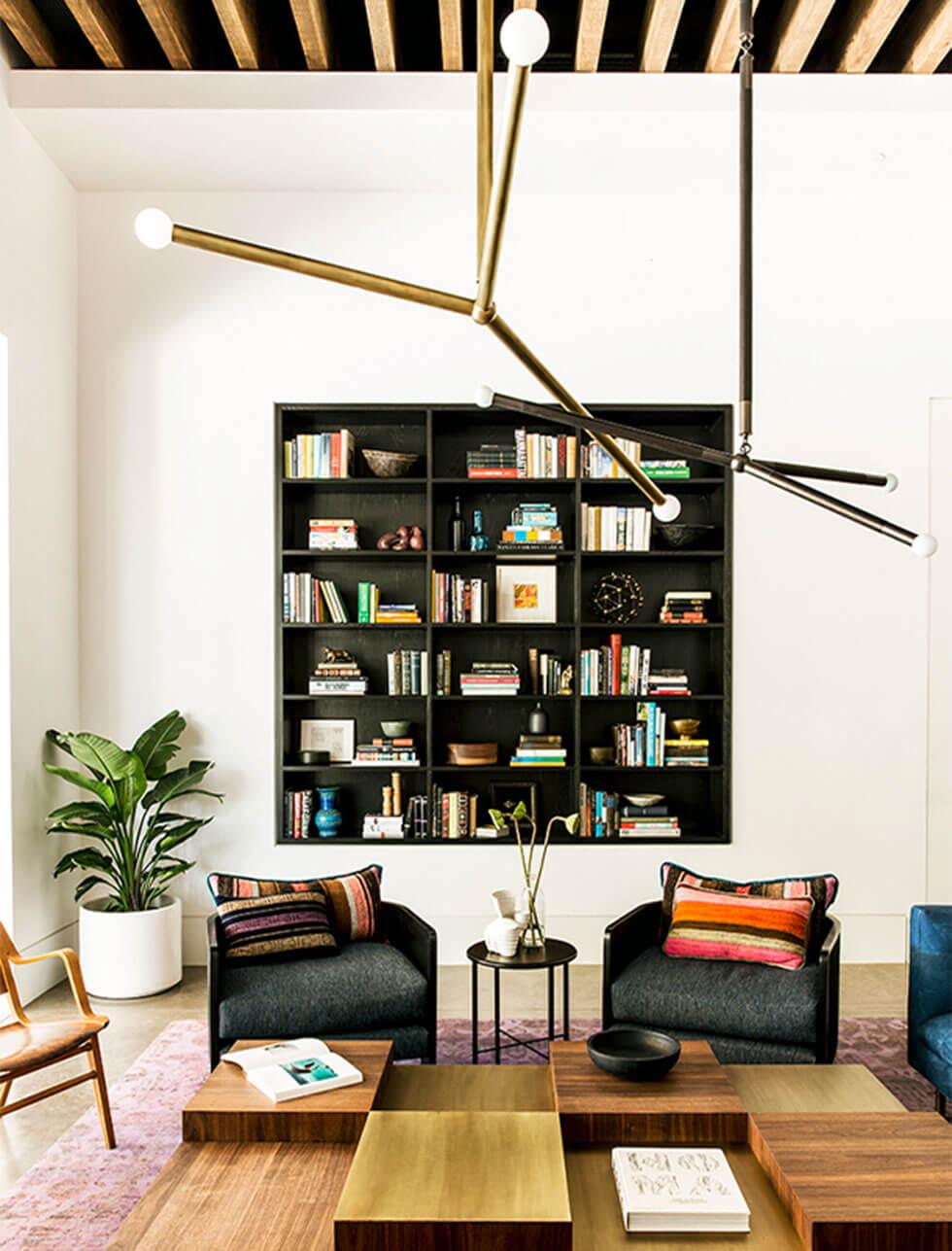 Living room with built bookshelf wall
