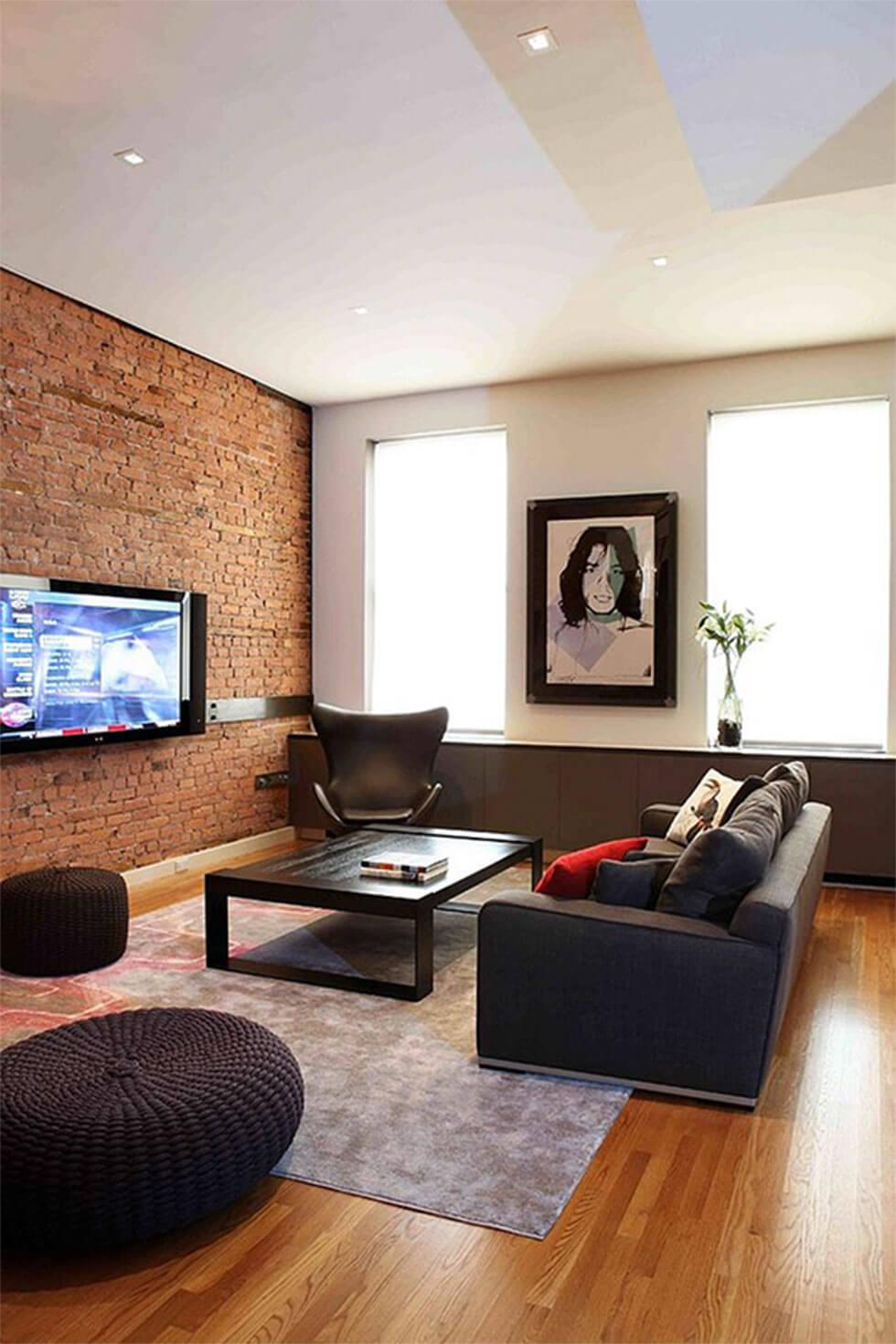 Living room with exposed brick feature wall