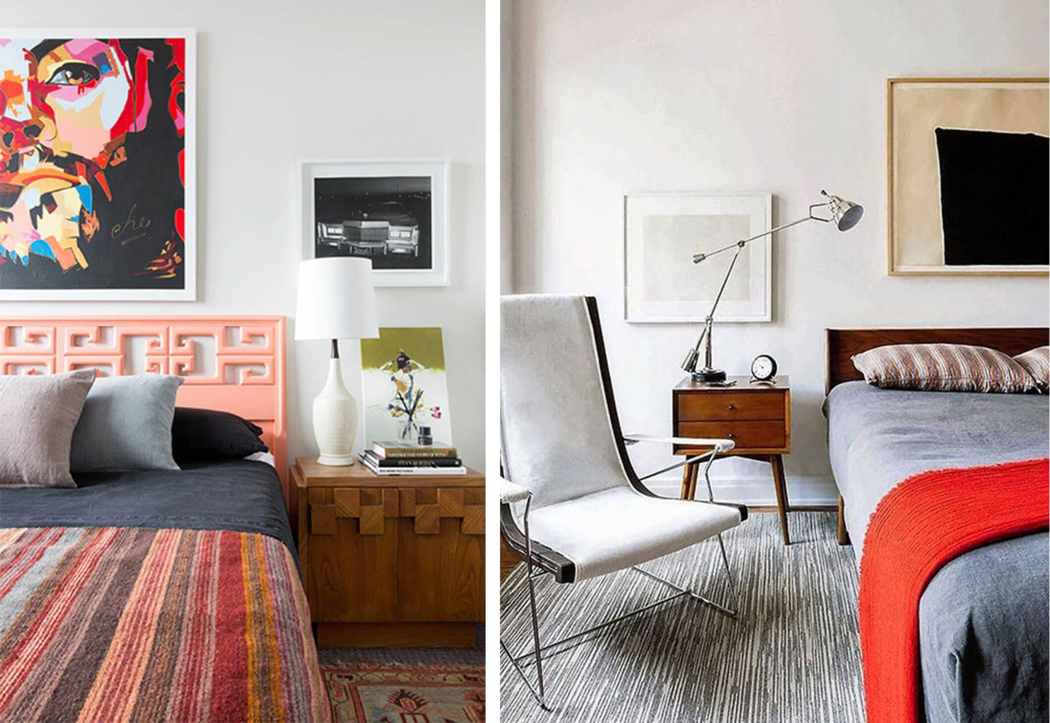 Mid-century bedroom with a coral headboard and patterned quilt