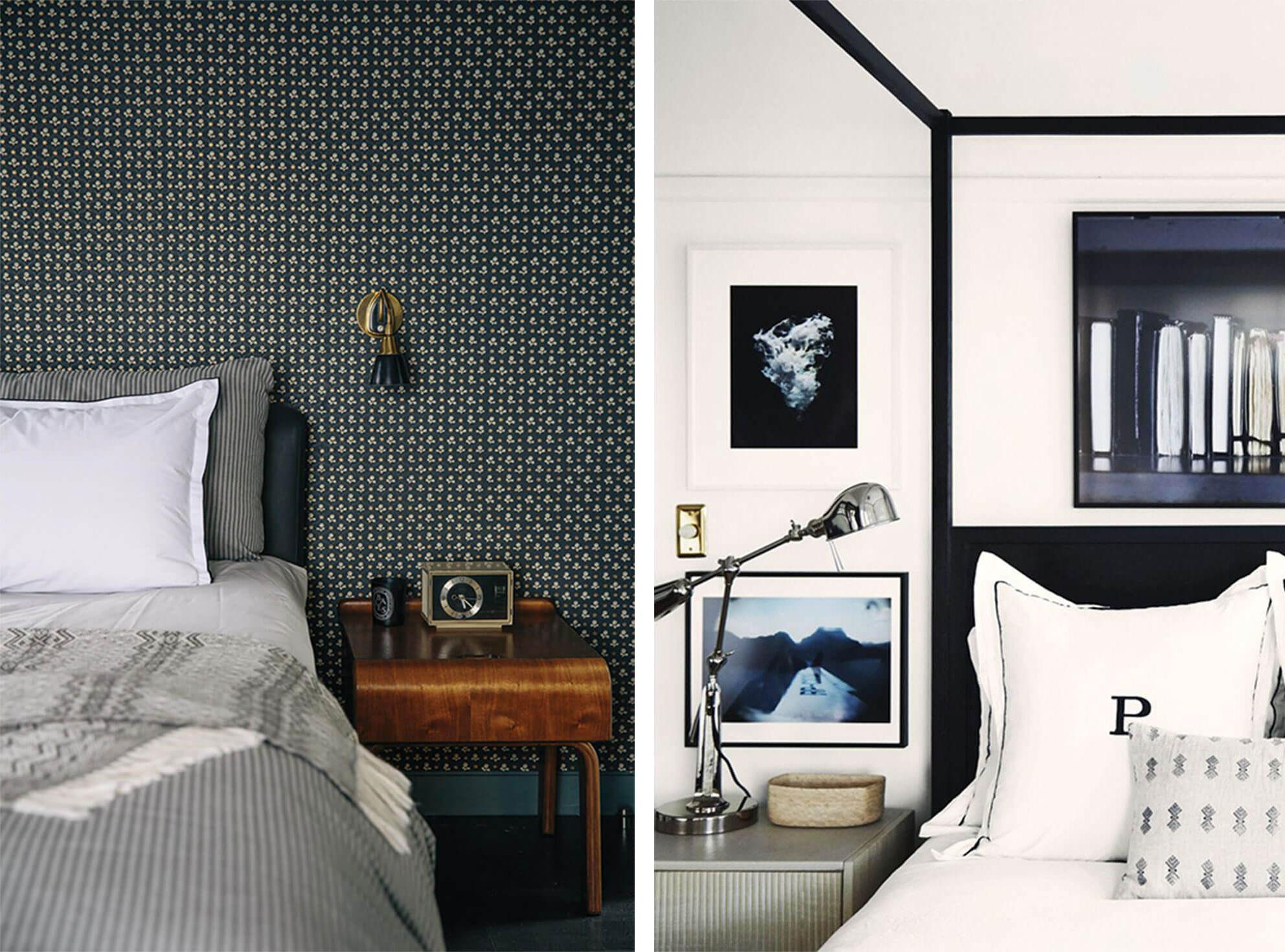 Modern bedroom with patterned wallpaper and metallic sconce