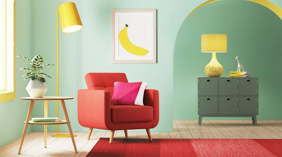 Neo mint yellow and red modern living room