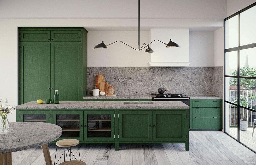 Green and grey kitchen