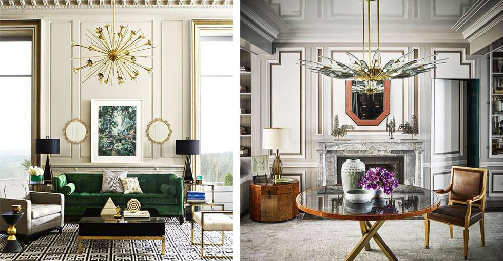 Compilation of neutral and symmetrical living rooms.