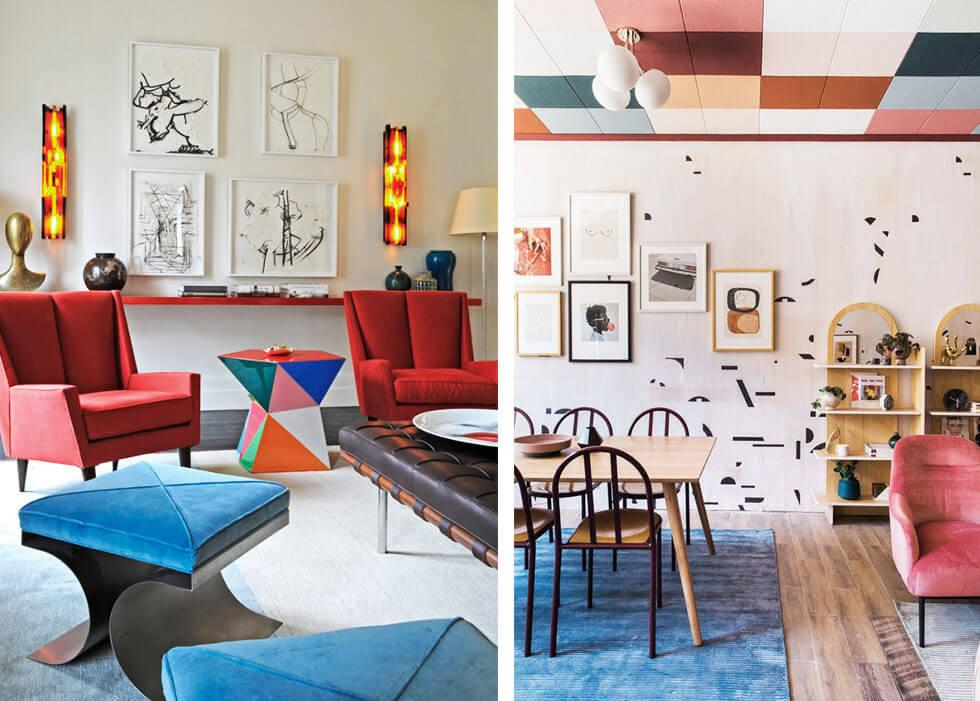 Colourful living spaces with retro furniture and a statement ceiling.