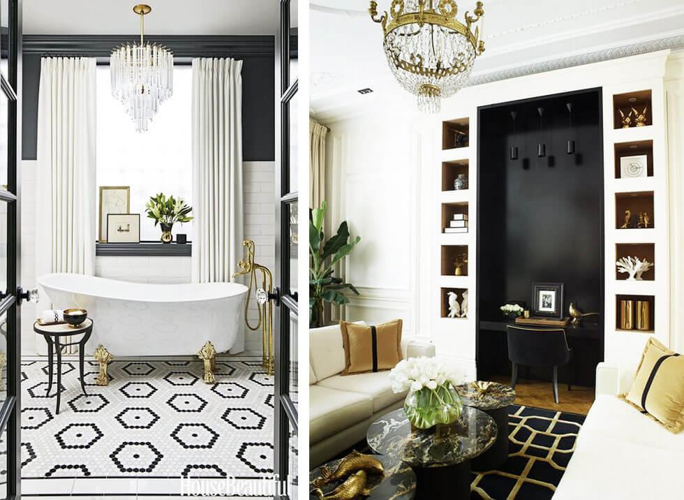 A monochrome bathroom and living room.
