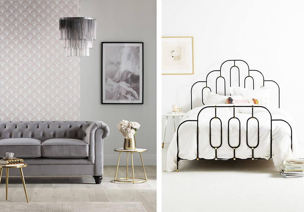 A modern Art Deco-inspired living room and bedroom.