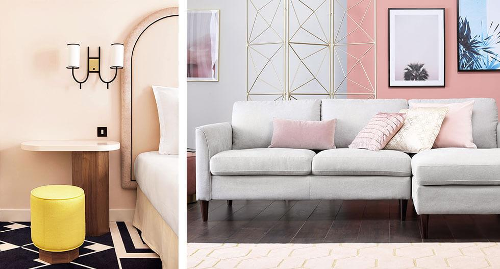 Collage of a modern pink bedroom and a pink and grey living room.