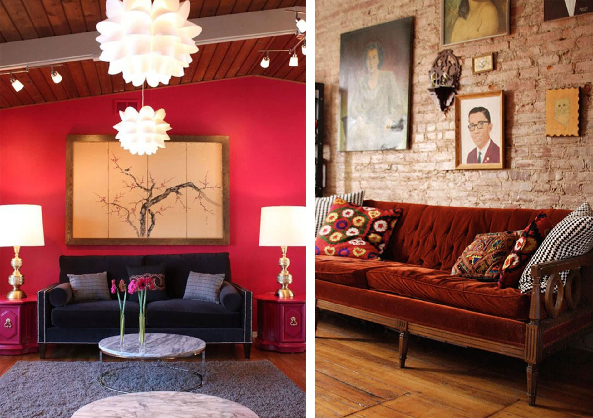 Red living room with feature wall, white lamps and a dark fabric sofa