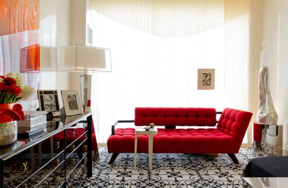 Contemporary living room with a modern red sofa