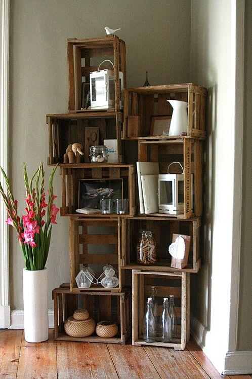 Rustic wooden shelves with assorted decorations.