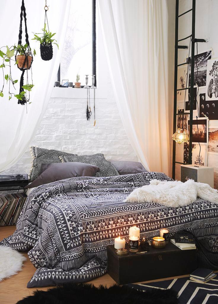 Assorted black bedroom furniture.