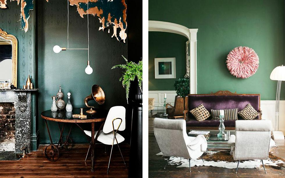 Collage of dark green rooms with wooden furniture and hints of pink and white.