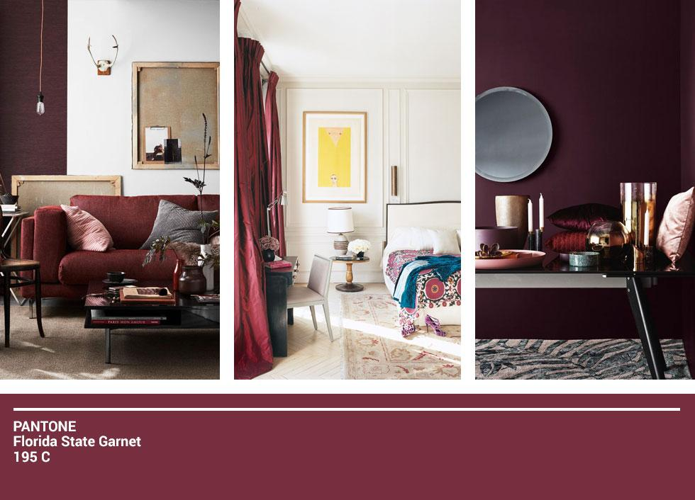 Collage of burgundy decor.