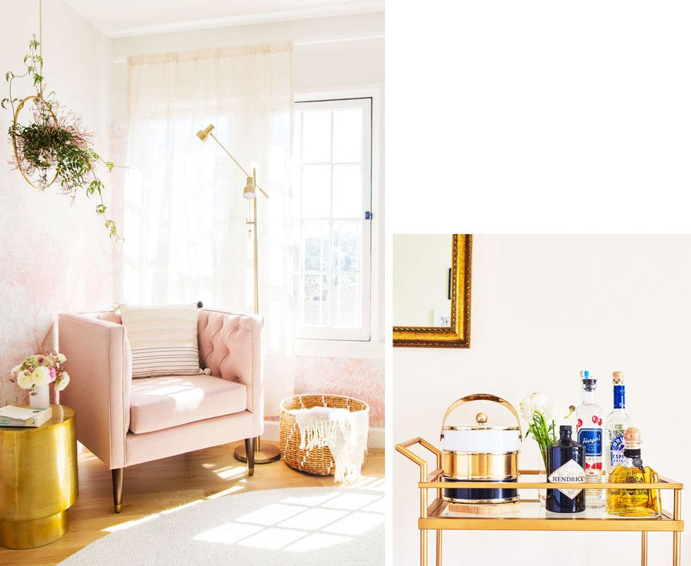 A pale pink armchair and gold side table.