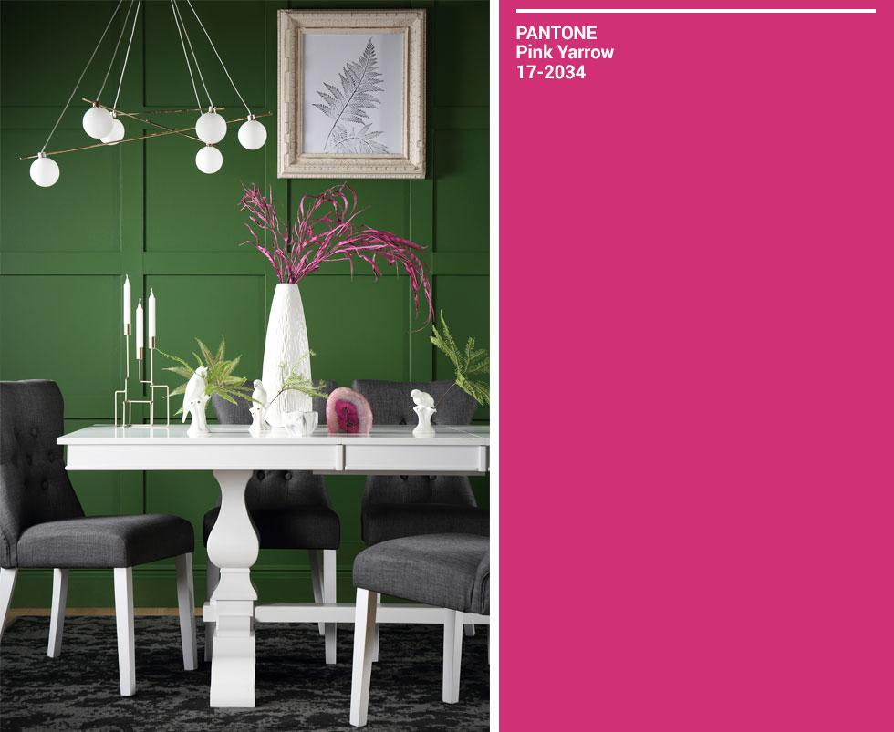 Collage of green room and pink Pantone swatch.