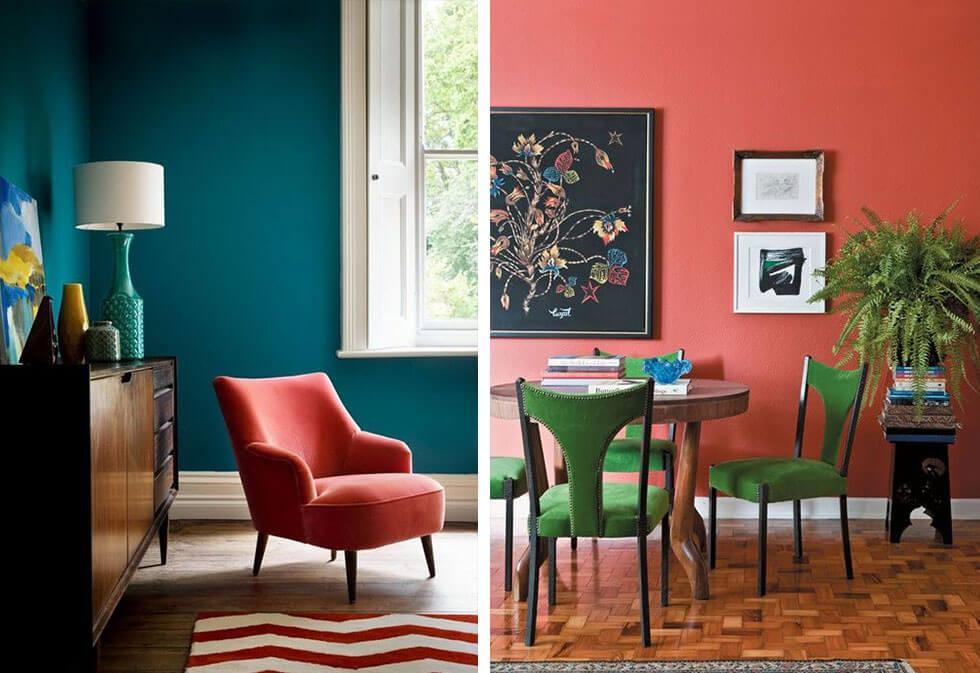 Living Coral as an accent furniture and feature wall.