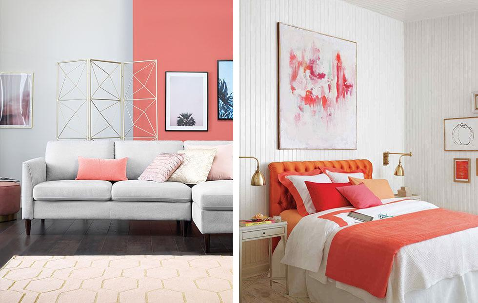 A coral feature wall and a coral-themed bedroom.