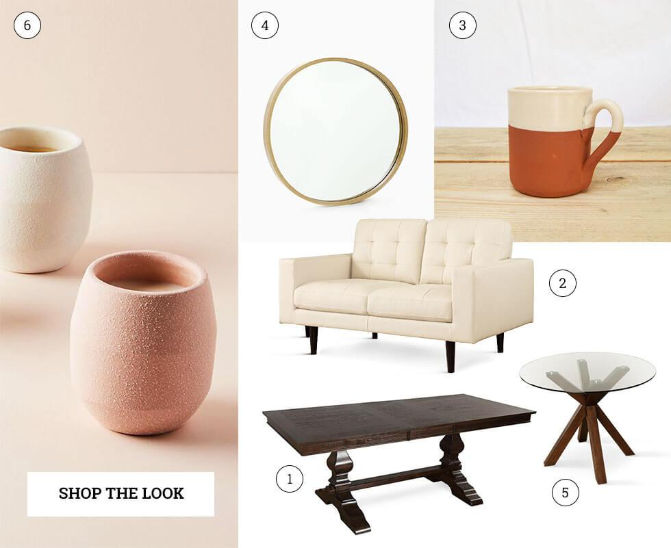 A compilation of home decor and furniture.