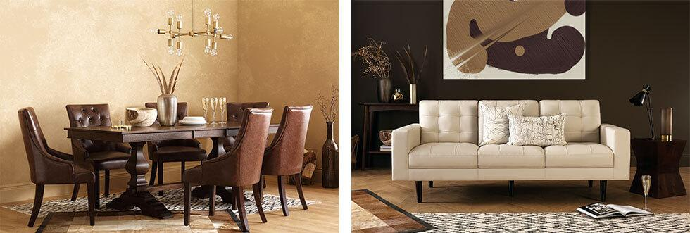 A brown-themed dining and living space.