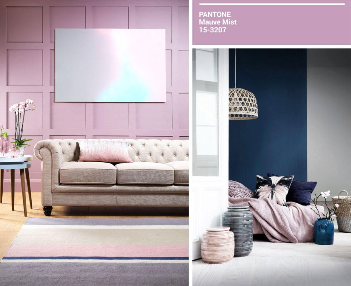 Collage of mauve decor with beige Chesterfield sofa.