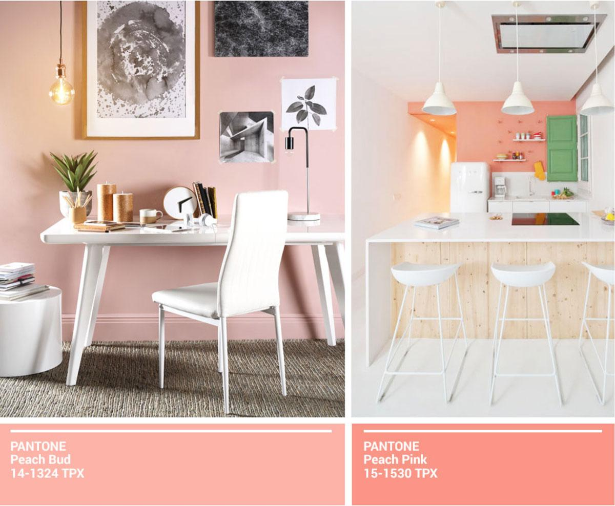 Collage of white dining sets against pale pink and coral walls.