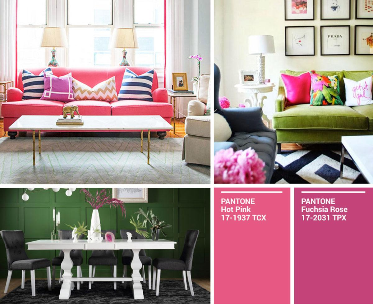 Collage of pops of pink, and pink against green.